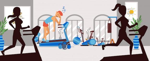 Problèmes de sommeil dans la salle de gym, gars épuisé sur tapis roulant, illustration. caractère de l'athlète reposant sur le simulateur de poignée