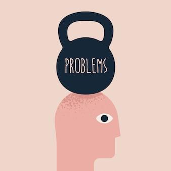Problèmes, sous pression, illustration de concept de douleur à la tête avec la silhouette de la tête humaine et le poids au-dessus avec la légende des problèmes. légende de la santé mentale. illustration
