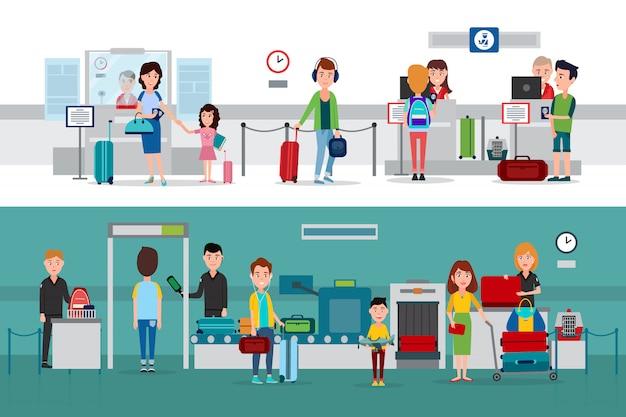 Procédure de contrôle des passeports avec détecteur de métal, vérification des documents et des bagages par les agents des douanes, à l'aide d'illustrations illustrant des aéroports ou des gares.