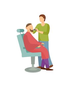 Procédure pour les hommes dans le dessin animé barber shop