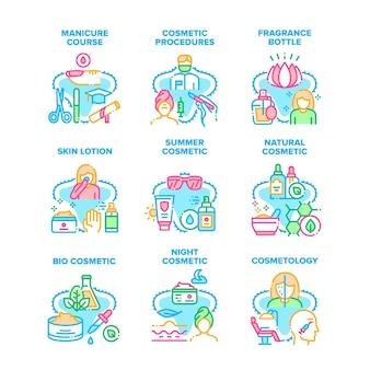Procédures cosmétiques set icônes illustrations vectorielles. cours de manucure et profession de cosmétologie dans un salon de beauté, bouteille de parfum et lotion pour la peau, illustrations de couleurs cosmétiques naturelles et bio d'été