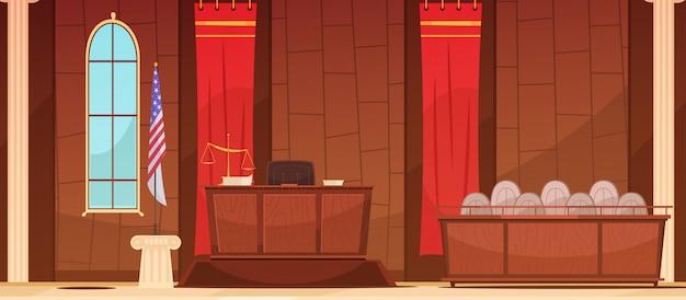 Procédures judiciaires judiciaires américaines au palais de justice avec affiche rétro de la boîte du jury et du jury