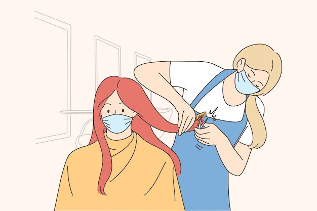 Procédures de salon de beauté pendant l'épidémie du concept covid-19.