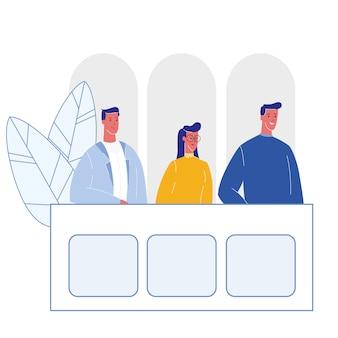 Procès du jury, illustration de dessin animé de la salle d'audience
