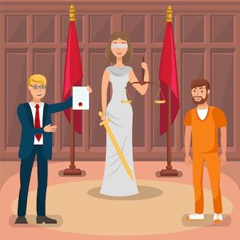 Procès judiciaire, cas juridique plat
