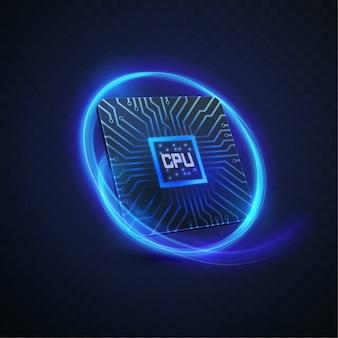Processeur de micropuces futuriste avec des lumières sur le fond bleu. ordinateur quantique, traitement de données volumineux,