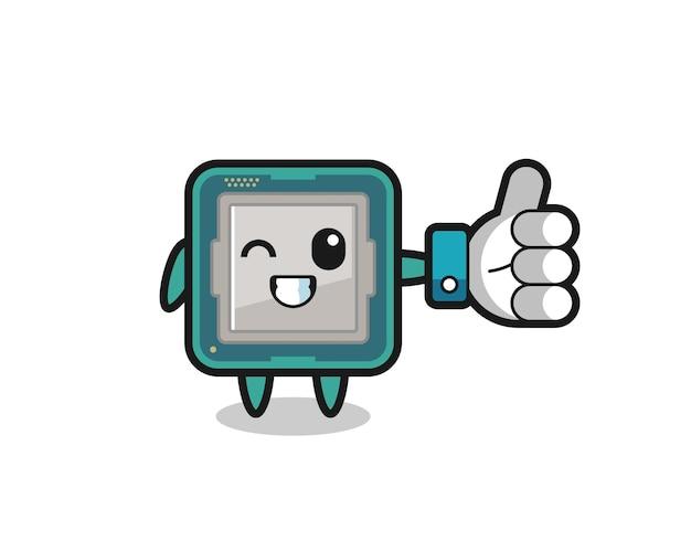 Processeur mignon avec symbole de pouce levé sur les médias sociaux, design de style mignon pour t-shirt, autocollant, élément de logo