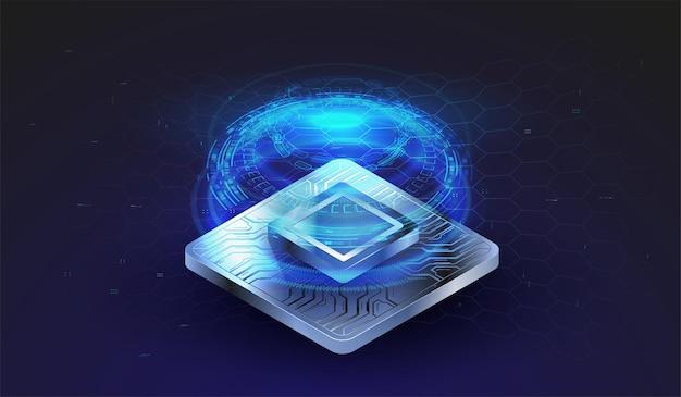 Processeur à puce avec effets de lumière. système cybernétique, technologie informatique futuriste.