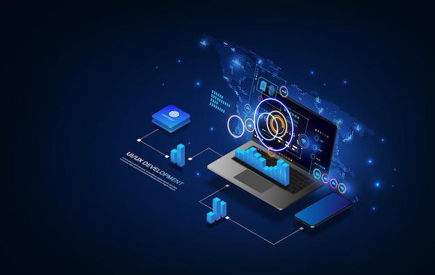 Processeur à puce futuriste avec rétroéclairage sur le téléphone en bleu. téléphone quantique, traitement de données volumineuses, concept de base de données. illustration vectorielle.