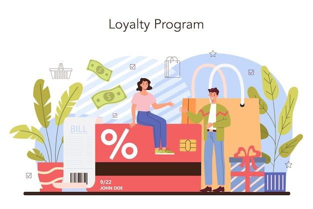 Processus d'activités commerciales. remise, promotion et fidélité