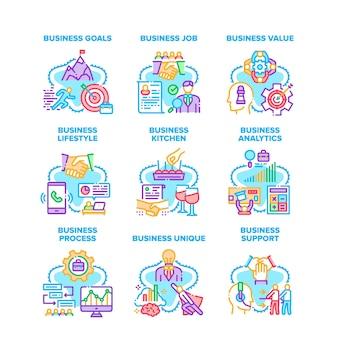 Processus d'affaires mis en icônes illustrations vectorielles. objectifs commerciaux et emploi, valeur et style de vie, support et analyses, cuisine unique et de bureau. illustrations couleur de réussite professionnelle