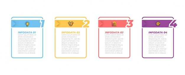 Processus d'affaires. timeline infographie et icônes marketing avec options, étapes, boîtes rectangulaires.