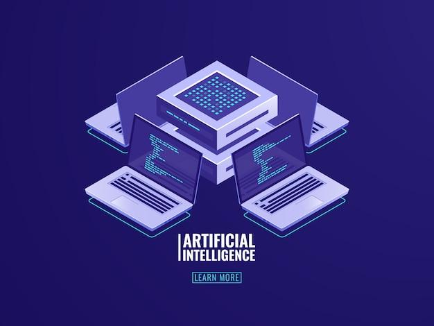 Processus automatisé d'intelligence artificielle, traitement de données volumineuses, salle des serveurs, puissance de calcul