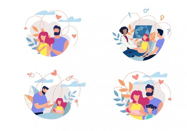 Processus de bannière famille avec romance à la parentalité.