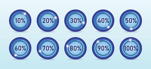 Processus de chargement dans une illustration vectorielle de pourcentage différent de forme ronde sur fond bleu clair.