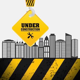Processus de construction accrocher signe grue en construction