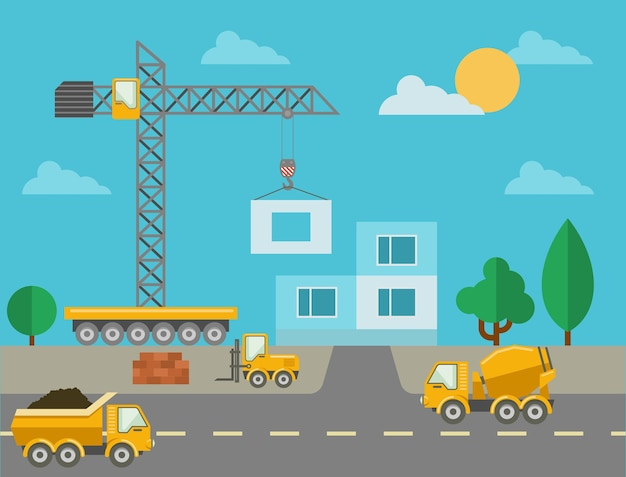 Processus de construction avec des machines de construction et bâtiment érigé. chantier de construction et bétonnière, grue à tour et camion. illustration vectorielle