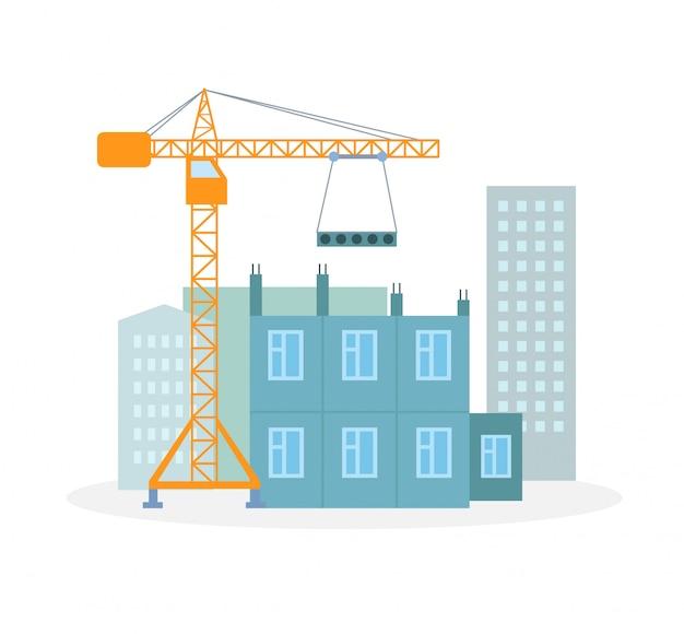 Processus de construction de maisons illustration plate