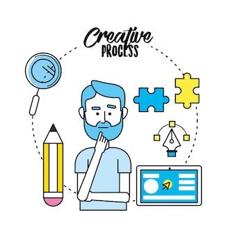 Processus créatif avec la conception des icônes idées
