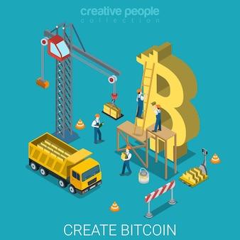 Processus de création de bitcoin monnaie crypto alternative isométrique plate