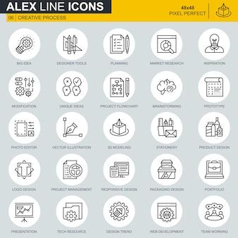 Processus de création de ligne mince et jeu d'icônes de flux de travail de projet