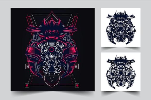 Le processus de création d'un logo eye satan samurai war