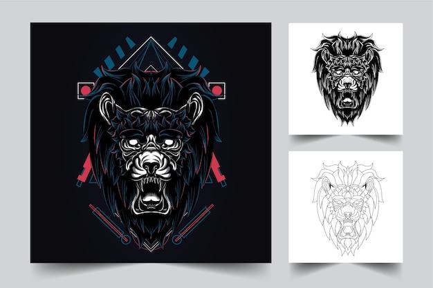 Le processus de création d'un logo de géométrie sacrée du roi lion en colère