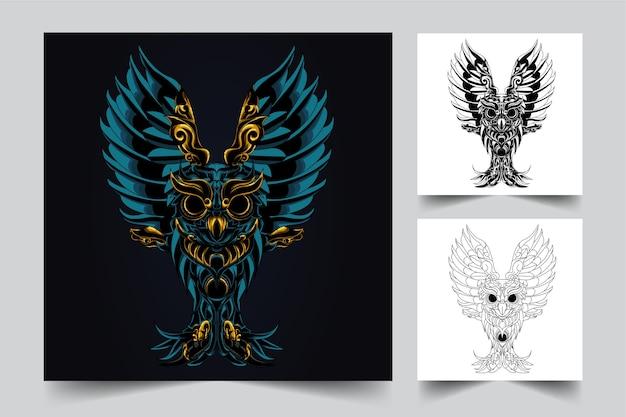 Le processus de création d'un logo d'ornement de hibou noir