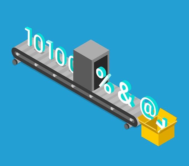 Processus de cryptage des données isométrique plat