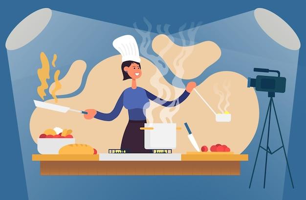 Processus de cuisson avec le chef à la table dans l'intérieur de la cuisine blogueur alimentaire illustration vectorielle