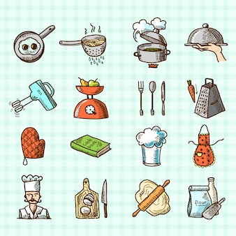 Processus de cuisson, délicieux, croquis, croquis, coloré, icônes, ensemble, isolé, carré, fond, vecteur, illustration
