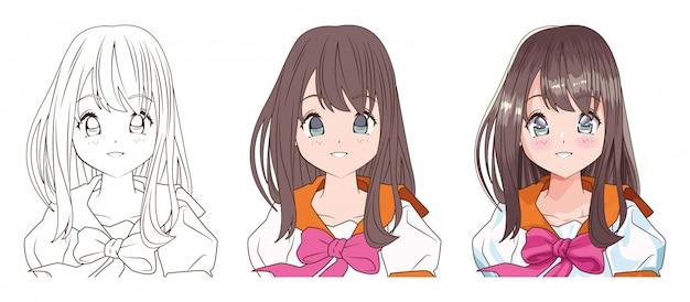 Processus de dessin de la jeune femme anime style caractère vector illustration design