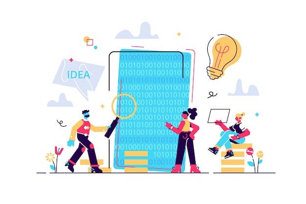 Processus de développement d'applications mobiles, arrière-plan de prototypage et de test d'api logicielle, équipe expérimentée - illustration, conception graphique, création d'applications mobiles, codage, programmation. seo. chercher