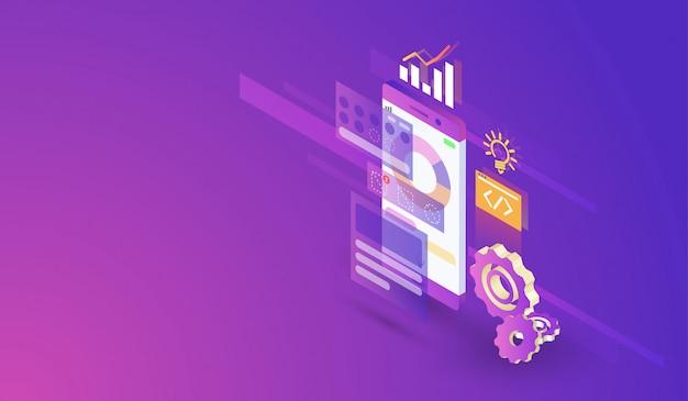 Processus de développement d'applications mobiles conception isométrique moderne