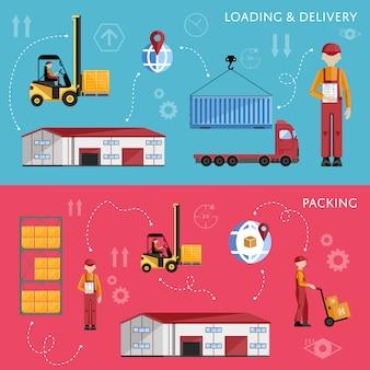 Processus d'entrepôt infographie quatre bannières.