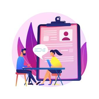Processus d'entretien d'embauche. embaucher de nouveaux employés. personnage de dessin animé spécialiste des ressources humaines parlant à un nouveau candidat. recrutement, emploi, chasse de têtes.