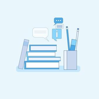 Processus d'étude scolaire university education web bannière thin line vector illustration