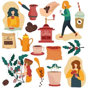 Processus de fabrication de café, illustrations vectorielles d'icônes isolées