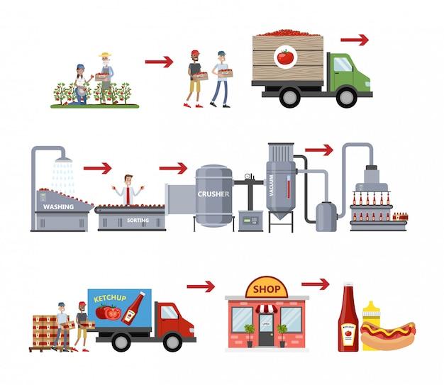 Processus de fabrication du ketchup.