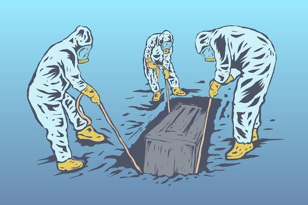 Le processus funéraire des patients corona par des agents de santé portant des combinaisons de protection contre les matières dangereuses