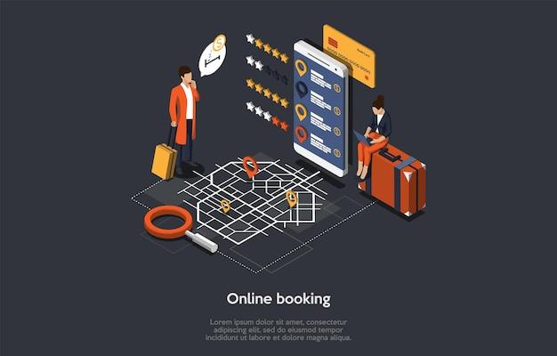 Processus d'hôtel de réservation en ligne isométrique