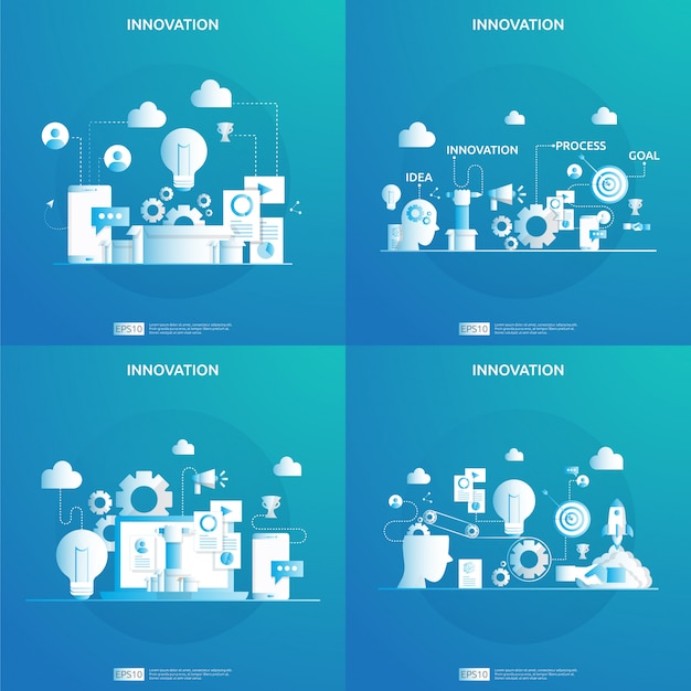Processus d'idée d'innovation de remue-méninges et concept de pensée créative avec lampe à ampoule pour projet de démarrage d'entreprise. illustration pour page de destination web, bannière, présentation, médias sociaux, impression