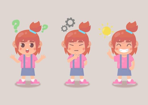Processus d'idée de recherche heureux enfant mignon fille