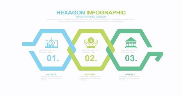 Processus d'infographie d'entreprise avec 3 étapes d'options modèle vectoriel hexagonal i