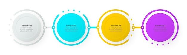 Processus d'infographie d'entreprise avec conception de modèle de cercles avec quatre options ou étapes illustration vectorielle