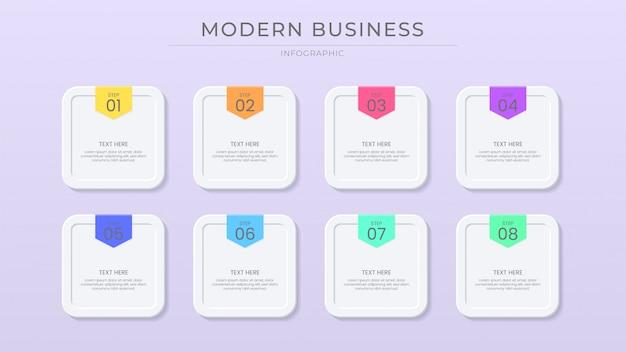 Processus d'infographie d'entreprise couleur vibrante avec effet de coupe de papier, effet de bouton, style moderne et propre.