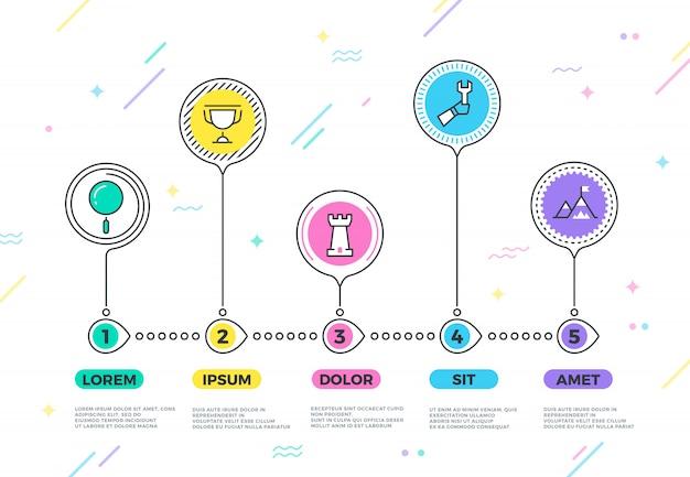 Processus d'infographie métier vectoriel avec étapes de stratégie pour le planificateur d'entreprise
