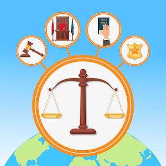 Processus juridique symboles à plat