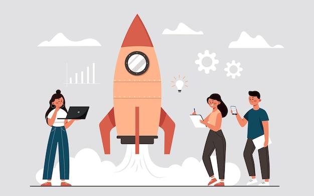 Le processus de lancement d'un projet d'entreprise sous la forme d'un démarrage de fusée-fusée