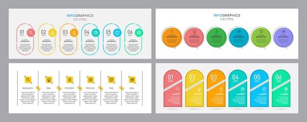 Processus métier avec 6 étapes chronologiques successives. définir l'infographie colorée.